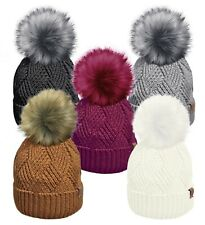 Ladies Rockjock Ski Bobble  Thermal Hats & Detachable Bobble Stylish Designer