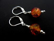 A PAIR OF RED & AMBER CRACKLE GLASS DROP LEVERBACK HOOK EARRINGS. NEW.