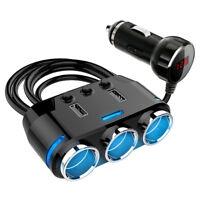12V 3Way Multi Car Cigarette Lighter Splitter 3 USB Charger Power Adapter Socket