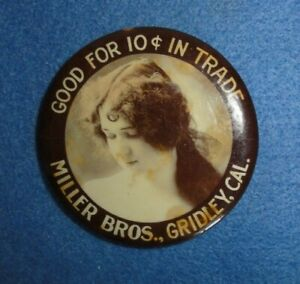 Gridley, Cal. Miller Bros. Good For 10c In Trade Advertising Pocket Mirror.