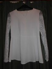Cream Peplum Blouse with Long Lace Sleeves, Sweetheart Neck, Size 10