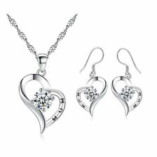 MUM Sterling Silver Crystal Heart Pendant Necklace Drop Earrings Set Gift Box P8