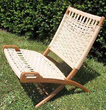 Vintage Hans Wegner Folding Chair Mid Century Danish Rope Woven Teak Wood