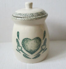 """Country Green ceramic Green/Ivory heart Canister. 9"""". Sponge paint style (U)"""