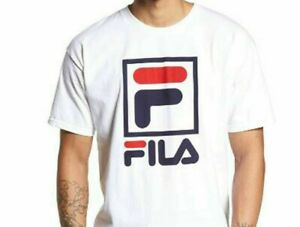 Men's T-Shirt  Logos FILA Small-Medium -Stacked 100%  Cotton WHITE Sporty  NEW