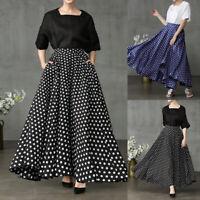 UK Womens Casual Loose Maxi Skirts Ladies Polka Dot Flare Long Dress Oversized