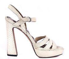 SAM EDELMAN Heels 8 Cream Strappy Taryn Platform Sandals Chunky Block Snake