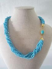 collana torchon  in stile vintage  di perline in pasta di turchese lunga 49 cm