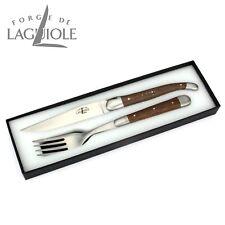 Forge de Laguiole Steakbesteck - Edles Steakmesser Gabel Set - fossile Mooreiche