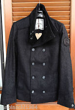 Cappotto Joe Retro misto lana Caban Trench doppiopetto Collo alto--Taglia S