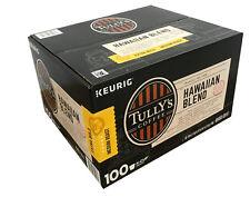 Tully's Hawaiian Blend Coffee Extra Bold Medium Roast Keurig K-Cups 100 Count!!!