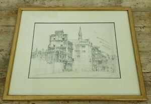 Framed Unsigned Street Scene Pencil Drawing
