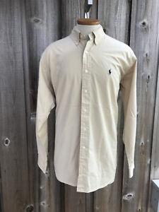 POLO Ralph Lauren Mens LS Blake Shirt Sz M Yellow 100% Cotton