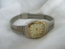 Waltham Twotone Watch with Metal Link Band, Square Dial WORKING!
