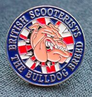 British Scooterists pin badge - Bulldog breed. Scooter  Lambretta Vespa MODs uk