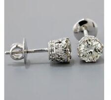 2Ct Near White Moissanite Diamond Forever 925 Sterling Silver Screw Back Earring