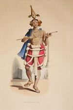 ASIE GRAVURE COULEURS JEUNE DANSEUR INDOU INDE WHALEN 1843 W66