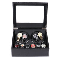 Luxury Automatic 2Motor Watch Winder Crocodile Pattern Display Case Storage 4+6