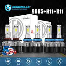 2500W 9005+H11+H11 Combo LED Headlight Bulb Kit 6000K AUTO Hi Lo Beam Fog Lights