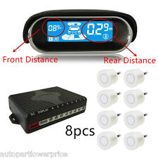 8 Parking Sensors Front Rear LCD Display Car Reverse Backup Alarm Radar Detector