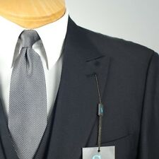 56R STEVE HARVEY 3 Piece Black Weave Suit - 56 Regular - SB13