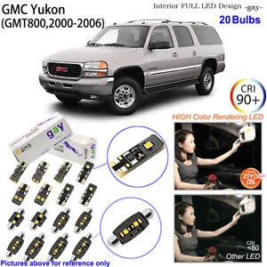 20 Bulbs Deluxe LED Interior Dome Light Kit White For 2000-2006 GMT800 GMC Yukon