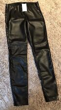 NWT H&M Black Faux Leather Jeans with Elastic waist zipper ankles fits Sz 0 - 2