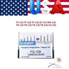10Pcs USPS AZDENT High Speed Diamond Burs FG-109 Porcelain Preparation Repair