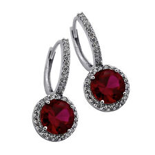 2.49 CT Womens Stylish Halo Drop Genuine Ruby Earrings 14K WG Plated 925 Silver