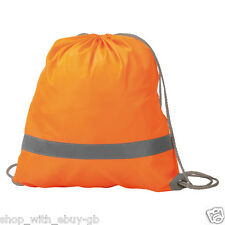 Bright High Visibility Reflective Drawstring Rucksack - Great for Night Time /