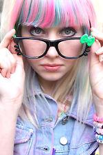 Kitty arco Geek Gafas Negro Verde Emo Punk Goth Kawaii Lindo -- Sin Lente