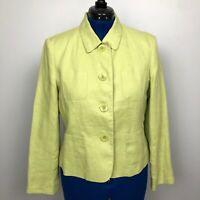 Talbots Irish Linen Women's Size 14P Green Button Down Collared Jacket