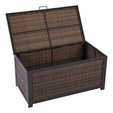 Outdoor Storage Deck Box All Weather Brown Wicker Garden Outdoor Box Container