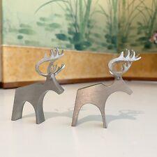 "Tina 92% Pewter Reindeer Finland by Castina 2.25""H Set of 2"