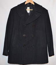DSCP Quarterdeck Collection Pea Coat Black Sterlingwear 100% Wool Men's 44 S