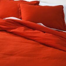 Threshold Vintage Solid Red Linen Duvet Set Full Queen with 2 Shams NEW