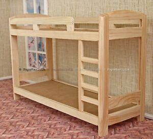 """Bunk Bed for DOLLHOUSE wooden Barbie Furniture miniature 1:6 scale 12"""" dolls"""