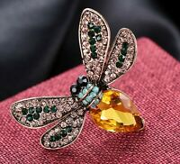 Bee insect brooch  yellow amber crystal rhinestone vintage style in gift box