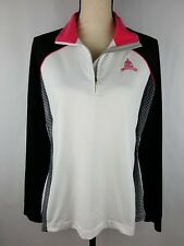 Greg Norman Large Women's Play Dry Black White Pink 1/4 Zip Congressional C.C.