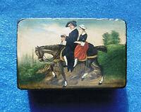 ANTIQUE 19th CENTURY PAPIER MACHE SNUFF BOX  '' on horse back  ''  HORSE RIDING