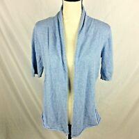 Workshop Republic Clothing Womens Cardigan Sweater M Blue Open Front Raw Seam
