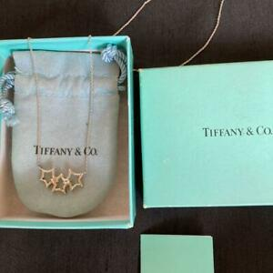 Tiffany & Co. Triple Star Pendant Necklace Sterling Silver SV925 Used w/BOX