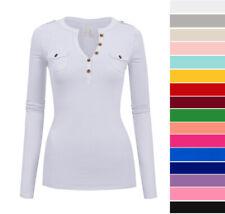 Women's Long Sleeve V-Neck Henley Top Soft Stretch Cotton T-Shirt Casual Basic