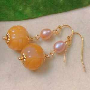 Natural orange yellow hetian jade pink Pearl gold ear hook Party Holiday gifts