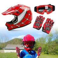 Youth Red Spider Net Dirt Bike Motocross Off-Road Helmet Goggles+Gloves S M L XL