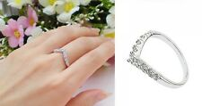 Women's 'V-Shaped' 24 Carat White Gold Plated Cubic Zirconia Gems, Dress ring