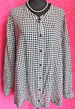 ULLA POPKEN B&W Check Cotton Blouse Tunic Top Long Sleeve Shirt 32 34 Relax Fit