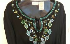White Stag Black with Blue Trim Embellished Long Sleeve Top, Ladies Size 16/18