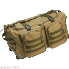 "Olive Drab Water Resistant 26"" Wheeled Duffle Survival Bug Out Tactical Tote Bag"