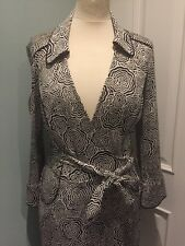 Diane Von Furstenberg DVF JEANNE Black Cream 100% Silk Wrap dress US 12 UK 14-16